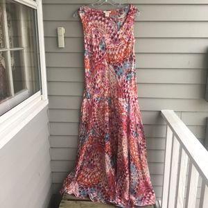 SUNDANCE CATALOG Silk Shore Bird Maxi Dress L